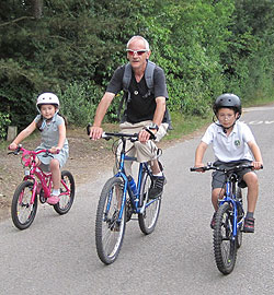 Grandpa and Grandkids on bikes